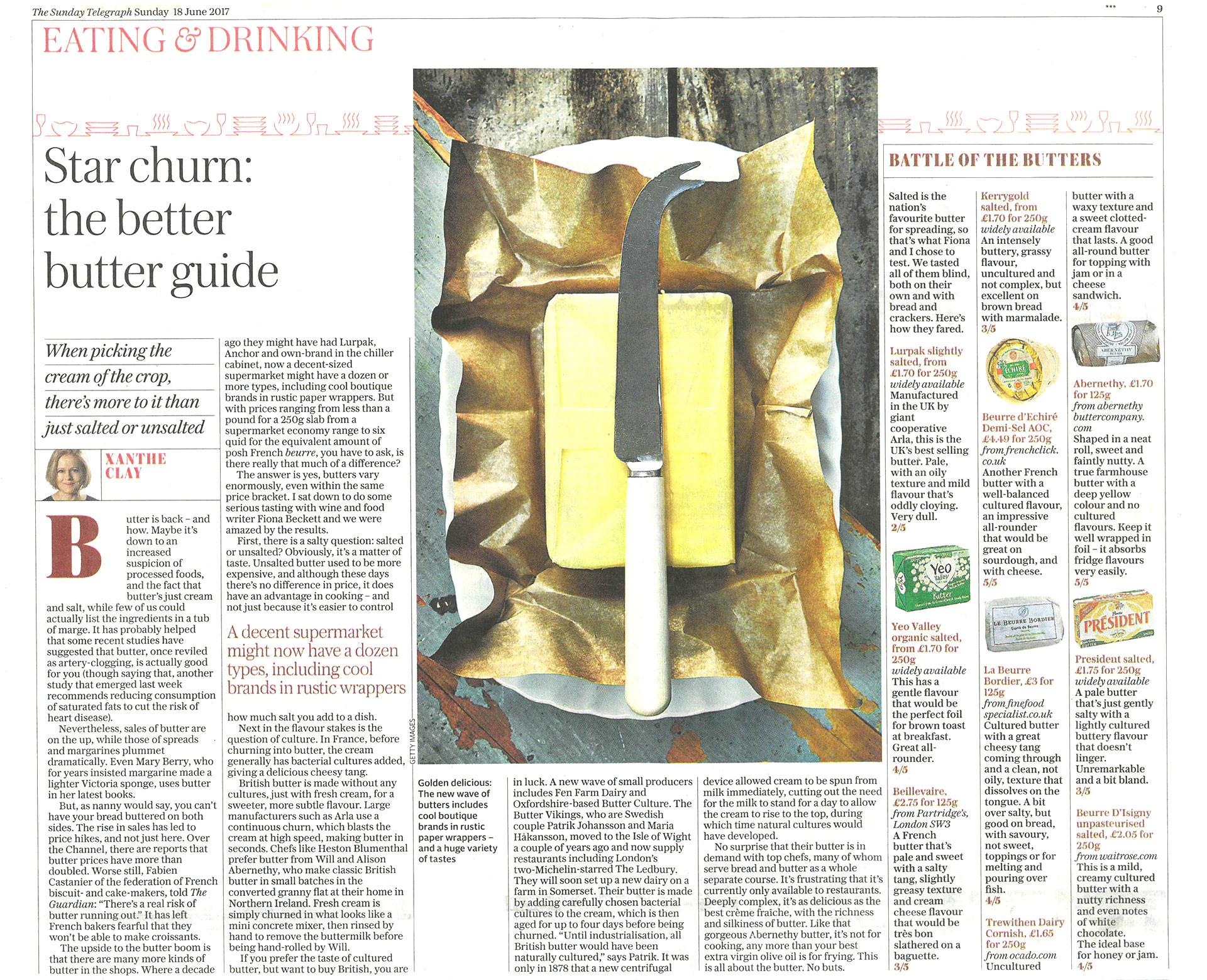 Sunday Telegraph butter blind taste