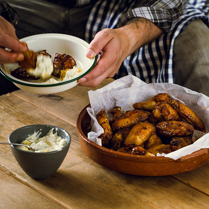 HOT CHICKEN WINGS WITH CLOTTED CREAM & CORNISH BLUE SAUCE