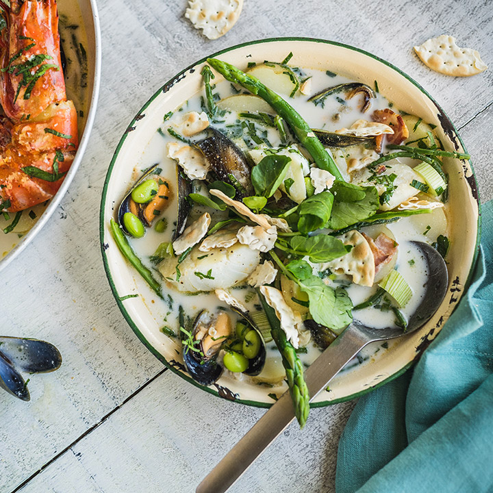 SMOKED HADDOCK & MUSSEL CHOWDER WITH SPRING GREENS