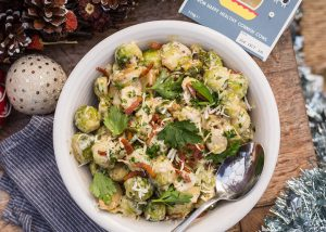 Sautéed Brussels sprouts with Trewithen clotted cream, horseradish and smoked bacon